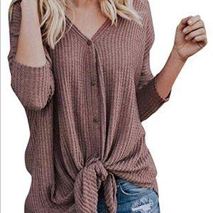 Waffle knit batwing tunic